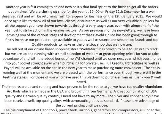E-Welding Newsletter December 2014 Newsletter