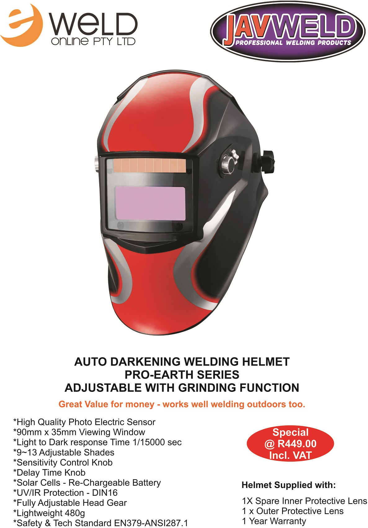 Earth Series Auto Darkening Helmet APRIL 2015