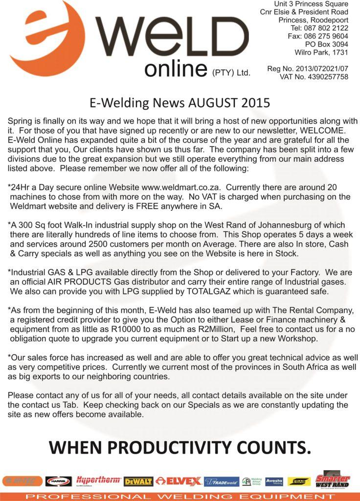 Newsletter AUGUST 2015 - Specials P1