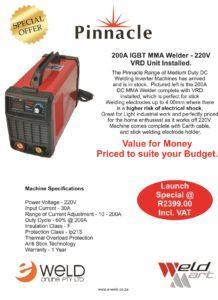 Pinnacle 200A VRD Inverter 220V